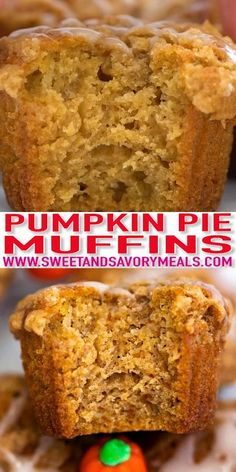 Pumpkin Muffins are tender, moist, and bursting with pumpkin pie flavor. They are a great treat for a fall breakfast or an awesome Halloween dessert. #pumpkin #pumpkinrecipes #thanksgiving #sweetandsavorymeals #recipevideo #pumpkinmuffins Pumpkin Muffin Recipes, Pumpkin Pie Muffins, Cupcake Recipes, Baking Recipes, Dessert Recipes, Bread Recipes, Dinner Recipes, Fall Breakfast, Breakfast Recipes