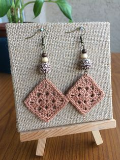 Crochet Earrings Brown Earrings Handmade by TipsyGypsyCrochet