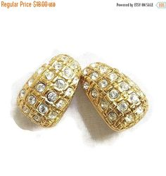 Swarovski Clear Rhinestone Earrings Gold Tone Vintage by MyVintageJewels on Etsy