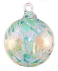 2½'' Spirit Tree Green Aqua + White Friendship Witch Ball Suncatcher Ornament ... Made with recycled glass! $18 at Kugel Cottage