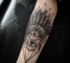 Indian Wolf | Tatuagem.com (tatuagens, tattoo)                                                                                                                                                                                 Mais