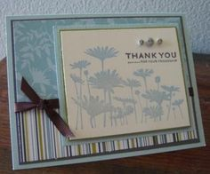 Stamps: Stampin' Up! Upsy Daisy stamp set  Paper: Stampin' Up! Upsy Daisy designer paper, Always Artichoke, Going Grey, Bashful Blue, Very Vannila  Ink: Bashful Blue, Going Grey  Misc: Stampin' Up! Chocolate Chip ribbon, generic buttons