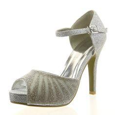 36 Sopily - damen Mode Schuhe Pumpe Offen Strass glitzer - Silber CAT-10-SH1604 T 39
