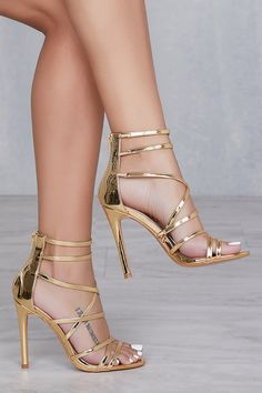 Captivating Gold Heels Shoes Ideas That Every Women Will Love - How can women resist a pair of cute shoes? Particularly, the gold evening shoes which are very popular to women now that can be paired in every dresse. Gladiator Sandals Heels, Caged Heels, Lace Up Heels, Stilettos, Pumps Heels, Stiletto Heels, Gold Strappy Heels, Gold High Heels, Strap Heels