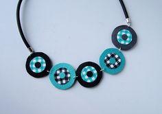 collier ronds vichy turquoise et noir