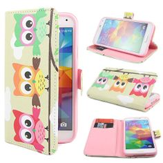 Wallet Owl Print Flip Stand Case Cover For Various Mobile Cell Phones USA Seller