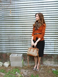 Love the orange sweater with the leopard print scarf.  see our own Stretch Pencil Denim Skirt here: http://apostolicclothing.com/900-stretch-pencil-skirt-.html#