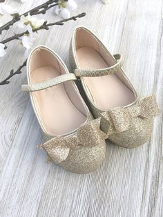Infant girl shoes and Toddler girl shoes - GOLD fine glitter mary-jane with glitter tuxedo bow for flower girls