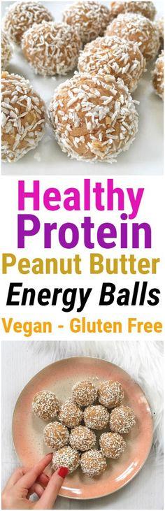 Protein Peanut Butter Energy Ball #energyball #proteinball #peanutbutter #coconut #nobake #vegan #glutenfree #healthy #snack #dessert #recipe