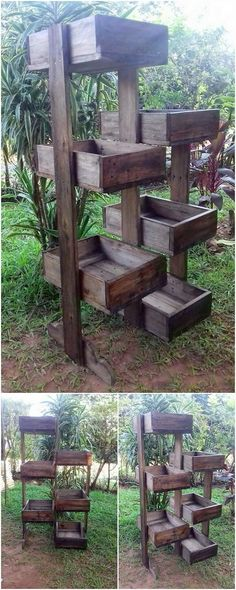 This is another superb creation of the wood pallet that is interestingly designed in planter stand formations. This planter stand is making you splendid offer with the divisions/sections of the shelves where you can beautiful add fresh flowers.