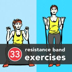 Looking for new ways to use your resistance band?  Here are 33 resistance band exercises you can do anywhere.  #HealthyLiving #Exercise via@greatist