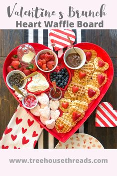 valentinesday couple Valentines Brunch: Heart Waffle Board - Treehouse Threads this is perfect for celebrating Valentines Day as a family, couple or with your galentines! Valentines Day Brunch Ideas, Family Valentines Day, Valentines Breakfast, Valentine Desserts, Valentines Food, Heart Shaped Waffle Maker, Charcuterie Recipes, Brunch Recipes, Keto Recipes