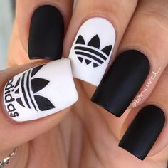 """""""Another shot of my Adidas nails but this time with MY THUMB  If you're part of my Snapchat fam (um you better be ), you know that I was practicing…"""""""