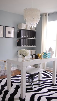 My Home Office! dens/libraries/offices - Benjamin Moore - Smoke - Walmart Zebra Rug, Black and White, West Elm Capiz Chandelier, West Elm Parsons Desk, West. Benjamin Moore Smoke, Home Office, Office Decor, Entryway Decor, Office Ideas, West Elm, Parsons Desk, Home Design, Interior Design