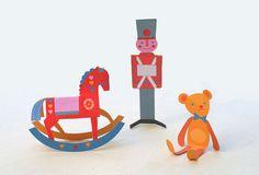 Clásico Navidad juguete adornos de papel para imprimir
