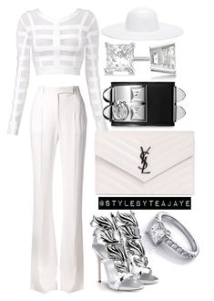 """Untitled #1766"" by stylebyteajaye ❤ liked on Polyvore featuring Alberta Ferretti, Forever 21, Allurez, Yves Saint Laurent, Hermès and Giuseppe Zanotti"