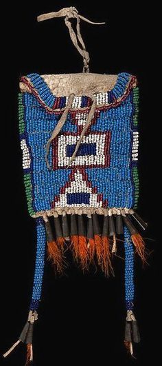 Bag | Sioux Ration Case Beaded Hide Geometric Design Tin Cones &