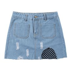 Patch Pockets Fishnet Trim Frayed Denim Skirt ($18) ❤ liked on Polyvore featuring skirts, knee length denim skirt, blue skirt, blue denim skirt and denim skirt