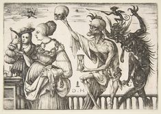 1500-1510 (?) Daniel Hopfer (1470 -1536) Woman and Attendant Surprised by Death.Print; Prints.Etching; first state of two.plate: 6 3/16 x 8 7/8 in. (15.7 x 22.6 cm) sheet: 6 5/16 x 8 15/16 in. (16 x 22.7 cm) Metropolitan Museum of Art.