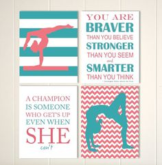 Gymnastics Wall Art Girl Gymnast Cheerleader By PicabooArtStudio