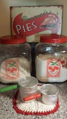 I NEED Those Darling Vintage Canisters In My Life! Glass With Decal  Cherries.