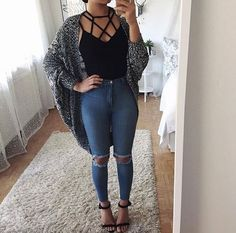 Keep it casual trendy fall outfits, spring outfits for teen girls, summer fashion for Look Fashion, Teen Fashion, Autumn Fashion, Fashion Outfits, Womens Fashion, Fashion Trends, Curvy Fashion, Fashion Black, Fashion Advice