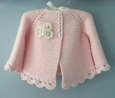 Knitting Pattern for Garter Stitch Baby JacketBaby cardigan knit in garter stitch with options for knit edging or crochet edging. Sizes 0 – 3 months and 3 – 6 months.Striped Short And Long Sleeved BabyThis Pin was discovered by Dönbeauty and thi Baby Cardigan, Cardigan Bebe, Crochet Cardigan, Knit Crochet, Sweater Jacket, Baby Knitting Patterns, Baby Patterns, Knitting Ideas, Bernat Baby Sport Yarn
