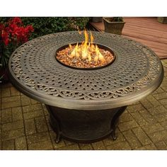 Shop for Carolton Premium 48-inch Round Aluminum Gas Firepit Table with Burner…