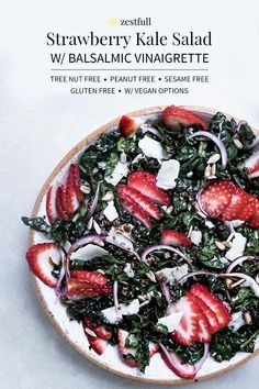 This salad recipe is a fun way to celebrate seasonal strawberries during the summer. It makes a nice light lunch or pairs well with a heartier dinner like chicken or meat. This strawberry kale salad with balsamic vinaigrette is peanut free, sesame free, treenut free, gluten free, and you have an option for vegan. #allergyfreesalads #allergyfriendly #allergyfriendlysalad #salad #healthy #leftover #strawberry #seasonal #summer #spring #lightlunch #lunch Top Food Allergies, Strawberry Kale Salad, Easy Cooking, Cooking Recipes, Allergy Free Recipes, Vinaigrette, Vegan Gluten Free, Strawberries, Food Print