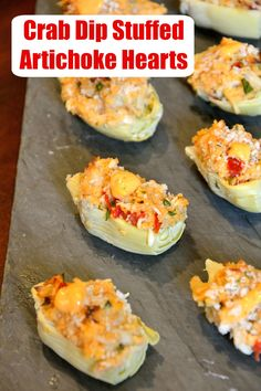 Crab Dip Stuffed Artichoke Hearts takes traditional hot crab dip and bakes in an artichoke heart, topping it with crunchy panko and Sriracha Aioli. Healthy Vegan Snacks, Quick Healthy Meals, Healthy Recipes, Paleo, Side Dish Recipes, New Recipes, Cooking Recipes, Favorite Recipes, Seafood Recipes