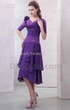 tea length grey lace and chiffon dresses | ... Chiffon Lace Purple Tea Length Mother Of The Bride Dresses DH00296