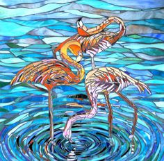 Three Flamingos Glass Mosaic