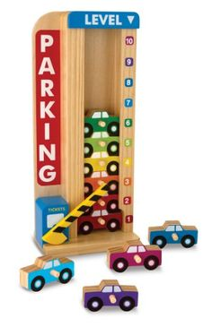 Stack 10 wooden cars in this gated parking tower and top them with the sliding counter. Then see the cars drop down and the counter point to a lower number each time a car is removed from the bottom! With its imaginative design details and wonderfully simple mechanics, this clever toy is a captivating, educational way to play with sorting, matching, counting, and more!