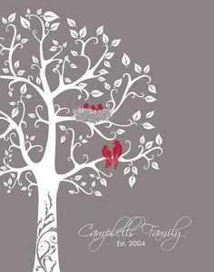 Custom family tree nursery wall art bird themed art print