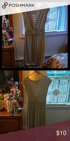 Dress Gray striped , Midi dress boldest . Good condition Merona Dresses Midi