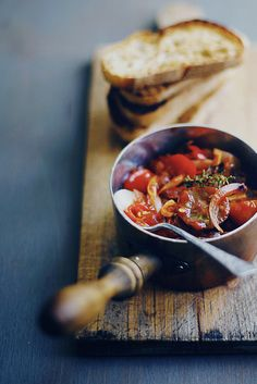Sautéed Tomatoes, Onion, Thyme and Parmesan Bruschetta