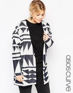 ASOS CURVE Premium Wool Geo Jacquard Jacket