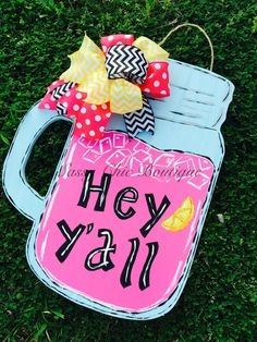 """24"""""""" Custom """"""""Hey Y'all"""""""" Wooden Lemonade Door Hanger with Handle and Matching Bow - Choice of Pink or Yellow Lemonade (Bow May Differ from Picture)"""