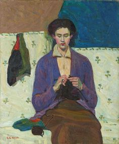 "The Sock Knitter / Grace Cossington Smith / 1915 / this painting ""has been acclaimed as the first post-impressionist painting to be exhibited in Australia."" -- Art Gallery NSW"