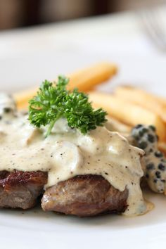 Strip Steak with Pepper Cream Sauce