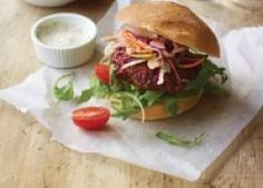 These beetroot burgers are a wonderfully tasty vegetarian alternative. Low in fat and salt, they're super healthy too.
