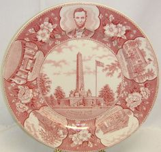 Vintage Collectible Lincoln's Tomb Memorial Plate By Old English Staffordshire