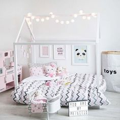 Toddler bed montessori bed house bed wood baby furniture kid nursery bed white bed tent teepee house room ideas for girls Bright Girls Rooms, Little Girl Rooms, Toddler Rooms, Toddler Bed, Girls Room Design, Bed Tent, Ideas Hogar, House Beds, Baby Furniture