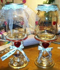 Redneck wine glasses I made for my nephews wedding