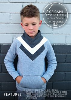 Origami Sweater by Misusu Patterns - included in One Thimble Issue 18 - Autumn PDF Sewing Patterns to sew for kids - Sewing for Boys and for girls
