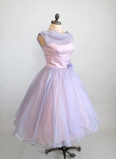 Vintage 1950s Prom Dress : 50s Lavender Chiffon Party Dress