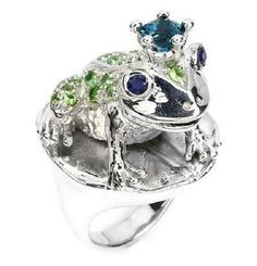 """Princess Frog"" Silver ring with tsavorites, sapphires, topaz London Blue 214$"
