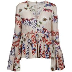 Msgm Floral Print Ruffled Blouse (1.770 BRL) ❤ liked on Polyvore featuring tops, blouses, shirts, floral pattern shirt, ruffle shirt, floral shirt, flower print blouse and frilly shirt