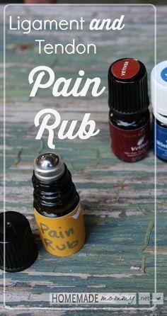 Homemade Ligament and Tendon Pain Rub   www.homemademommy.net #essentialoils