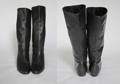 1980s Black Riding Boots  || Vintage 80s Tall Knee-High Flat Boots  ||  Vinyl Leather Shoes Size 7/7.5 US